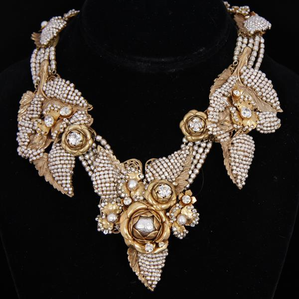 Stunning Miriam Haskell Gold Tone & Grey Pearl Bib Necklace with Rose Bud Floral and Leaf motif.