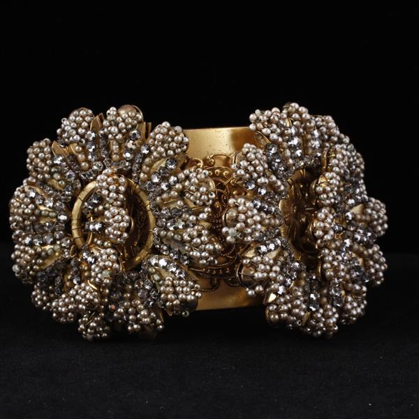 Unmarked Miriam Haskell Sead Pearls Beaded Floral Cuff Bracelet