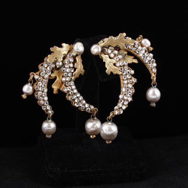 Miriam Haskell 3pc. Faux Pearl Necklace, Bracelet, & Clip Earrings