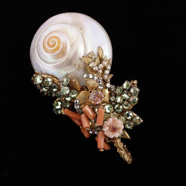 Miriam Haskell 2pc. MOP Shell Brooch Pin & Clip Earrings with pink coral poured glass flowers, rhinestones and seed pearls.