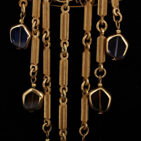 Exceptional Miriam Haskell Etruscan Revival gold tone multi chain jeweled Bib Necklace; poured glass on fringe & applied florets on...