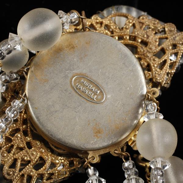 Miriam Haskell 3pc. Frosted glass & rhinestone floral set; Bracelet, Brooch pin, & Clip earrings.