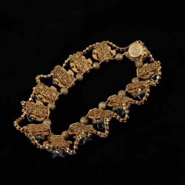 Miriam Haskell Necklace; Rhinestones & Gilt Leaves