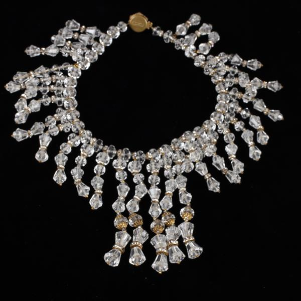 Miriam Haskell 2pc. Clear Lucite Bib Choker Necklace & Dangle Clip Earrings