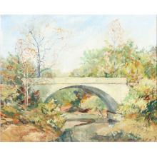 "Francis Clark Brown, Indiana, Iowa, Connecticut (1908-1992), Brown County Bridge Landscape, oil on masonite, 23 1/4""H x 28 1/2""W (image), 27 1/4""H x 32 1/2""W (frame)"