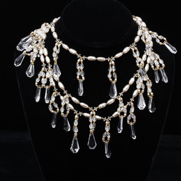 """MIRIAM HASKELL Three strand pearl necklace with crystal loops & crystal faceted dangles. 16""""L."""