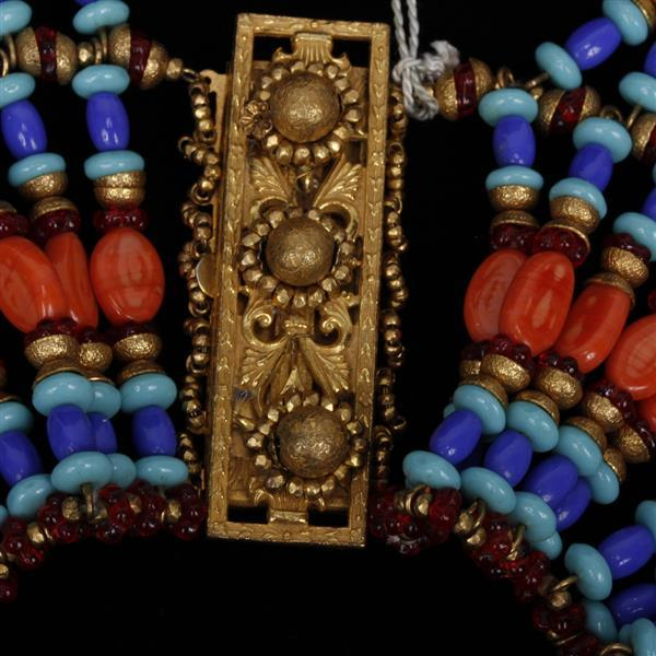 MIRIAM HASKELL Egyptian collar of coral & turquoise glass beads, gold & red cxrystal beads. Purchased at Marshall Fields in the 197...