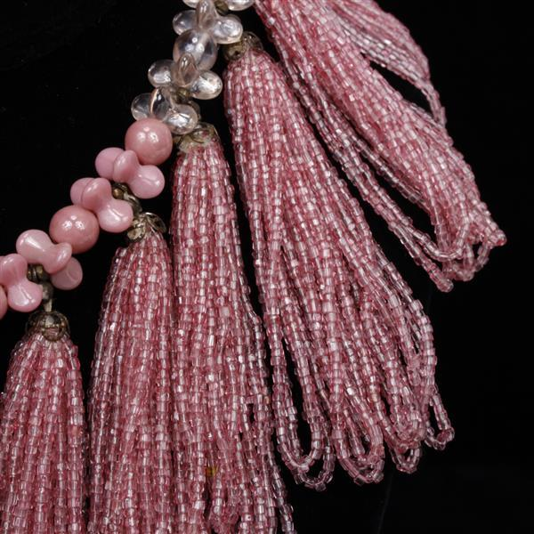 "MIRIAM HASKELL Pink multicrystal tassel festoon collar. 14""L x 3"""
