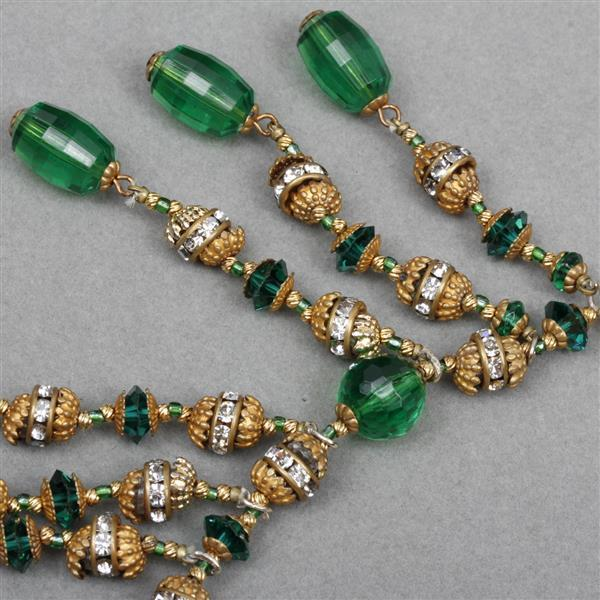 """MIRIAM HASKELL Green bead, gold cap & rondel drippy necklace. 16""""L x 3"""""""