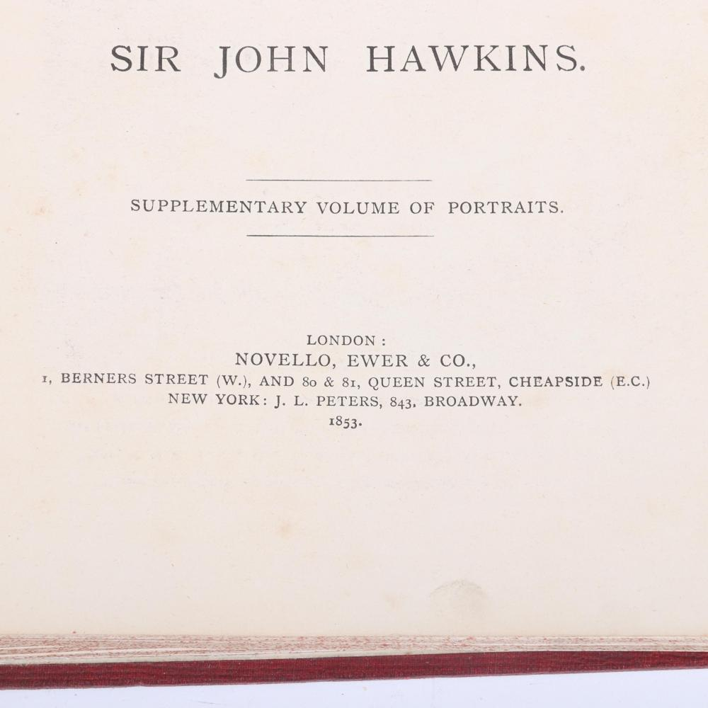 "General History of the Science and Practice of Music, Sir John Hawkins; Novello, Ewer & Co; 1875 Volumes I & II; 1853 Volume III with Supplementary Volume of Portraits. 1 1/4""H x 8""W x 10 3/4""D"