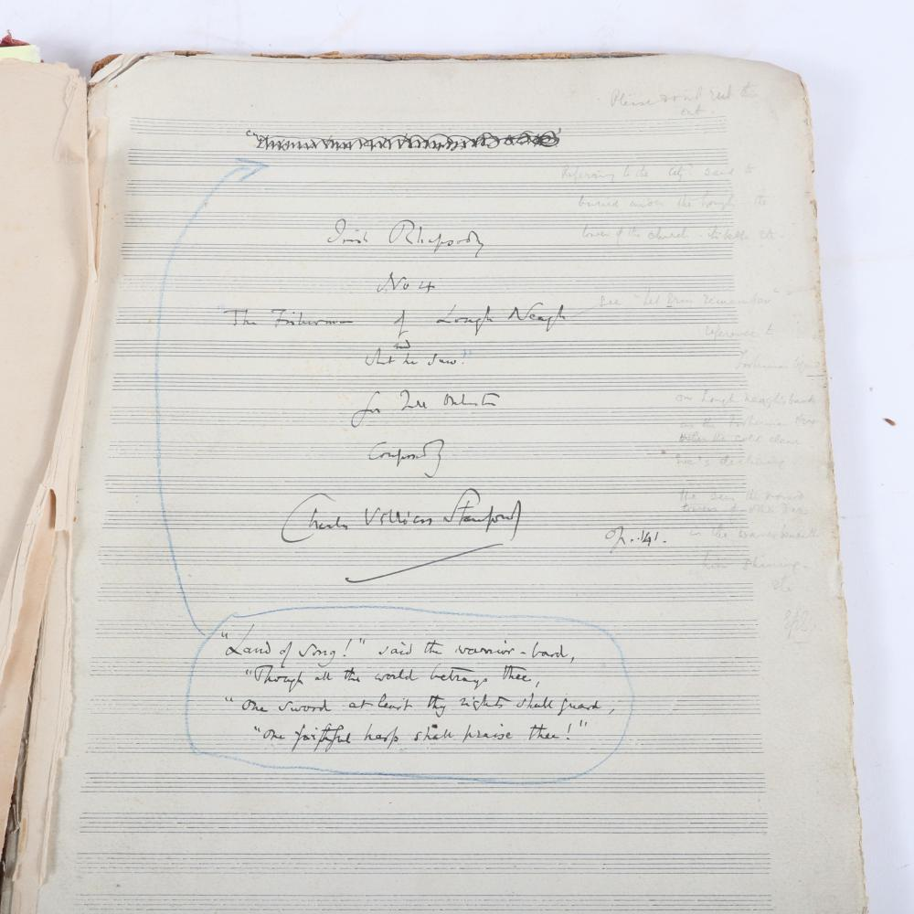 "Charles Villiers Stanford hand-written & scored Irish Rhapsody No 4, The Fisherman of Loch Neagh and What He Saw, with composer's notes, signed title & final page, November 10, 1913. 1/2""H x 11""W x 15 1/2""D"