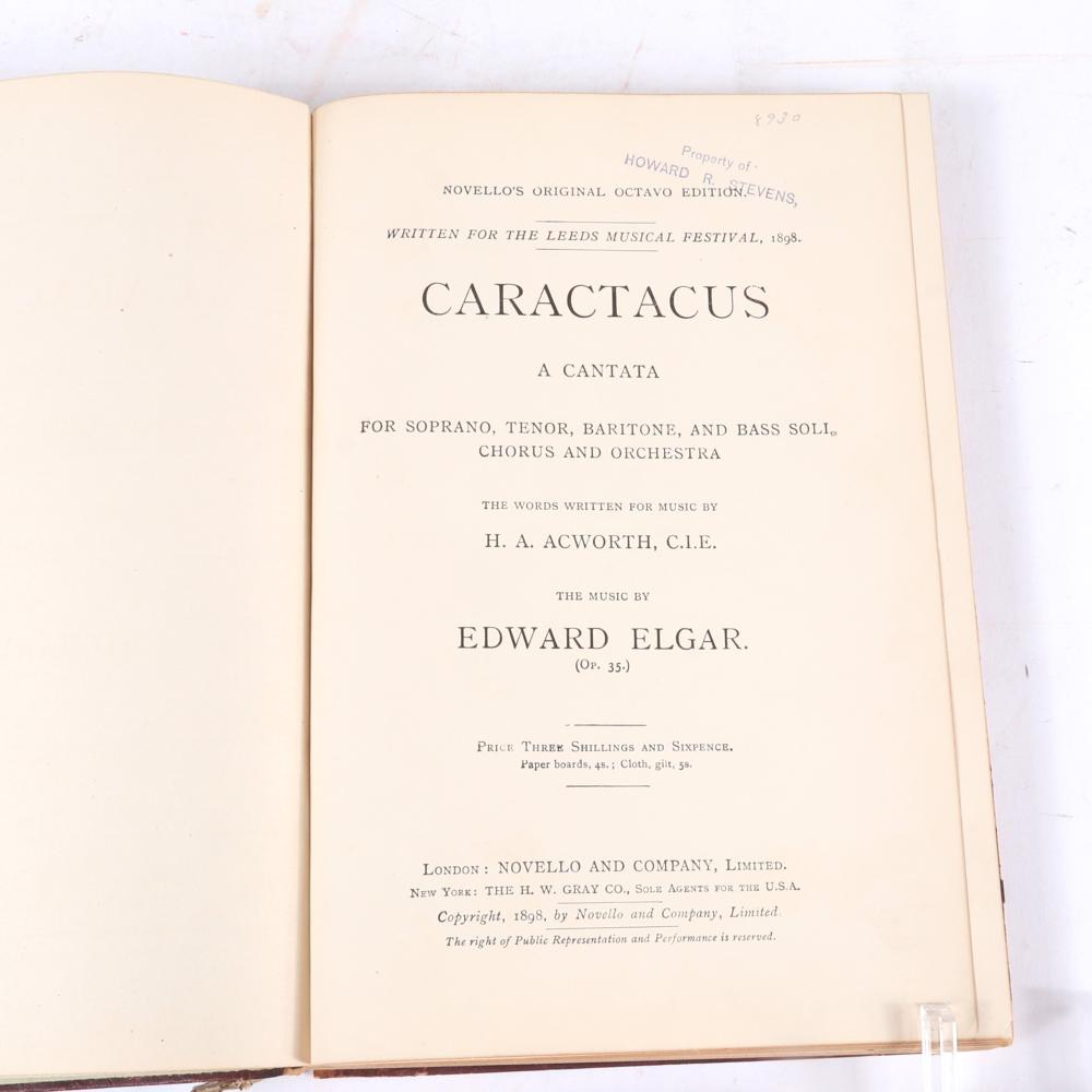 Two Edward Elgar books: Signed book; Elgar: His Life and Works. Basil Maine, Published by London: G. Bell & Sons, Ltd., 1933 and Caractacus, A Cantata, Edward Elgar (Op. 35), Written for the Leeds Music Festival, London,