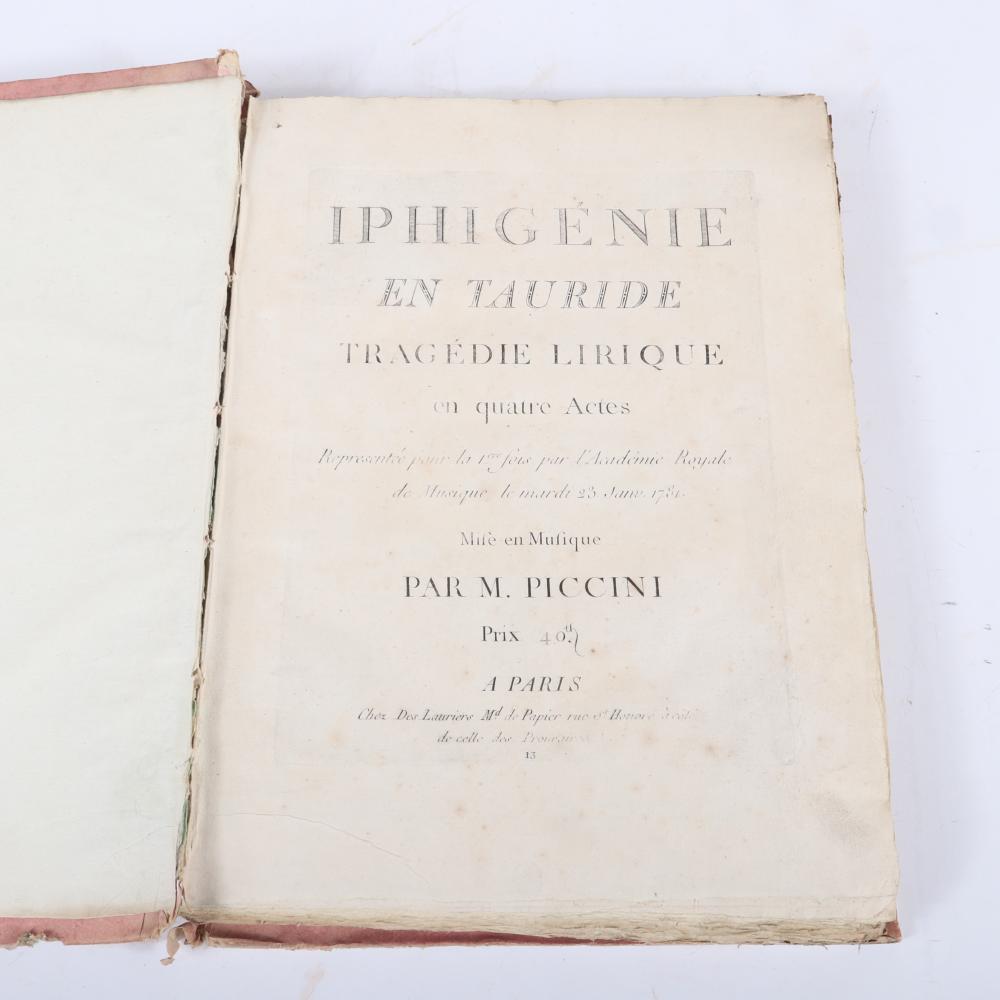 """Iphigenie En Tauride, Tragedie Lirique en quatre Actes, Representee pour la fois par L'Academie Royale de Musique le Mardi 23, Jan. 1781, Mise en Musique Par M. Piccini, Paris. 1 1/2""""H x 11""""W x 15""""D"""