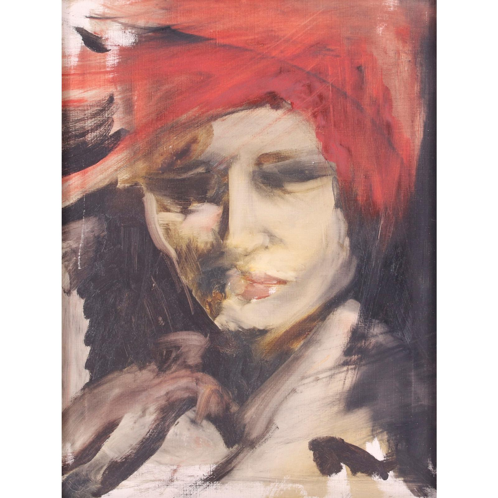 "Yolanda Pauline Tamara Sonnabend, (1935-2015), portrait of Marie Sonnabend, oil on canvas, 15 1/2""H x 11 1/2""W (image) 20""H x 16 1/4""W (frame)"
