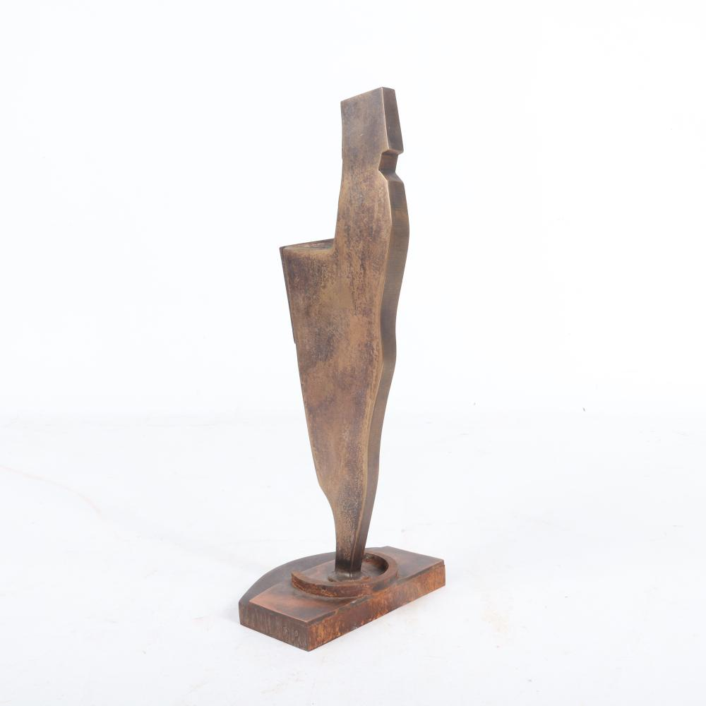 "Nuvo Cultural Vision Award presented to Raymond Leppard in 2002 for Lifetime Achievement: bronze abstract machine age style figural sculpture. 11""H x 4 1/2""W x 4""D"