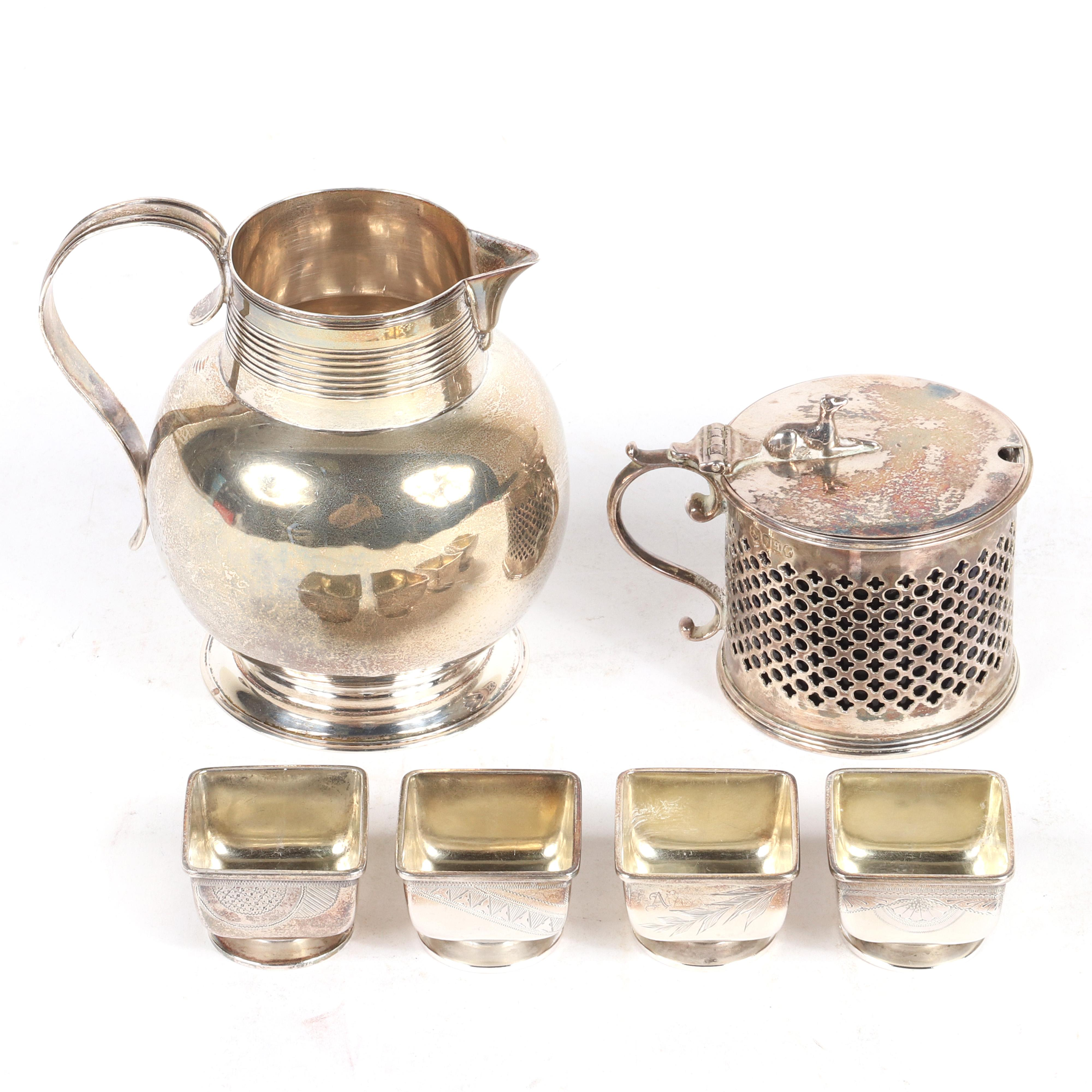 """Victorian sterling silver grouping; 4 Gorham Aesthetic individual salts, English cream pitcher and cobalt glass lined mustard pot with figural dog lid finial, London Hallmarks ca.1880s. 4""""H (pitcher)"""