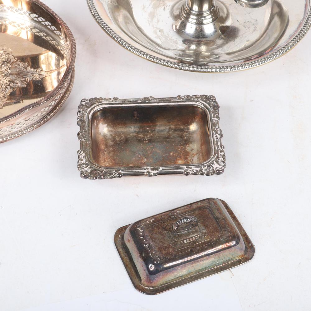 """Sheffield and other silver plated items, 5pc.; 19th Century George Richmond Collis Birmingham candlestick 1 1/4"""" H x 6 3/4"""" diam"""