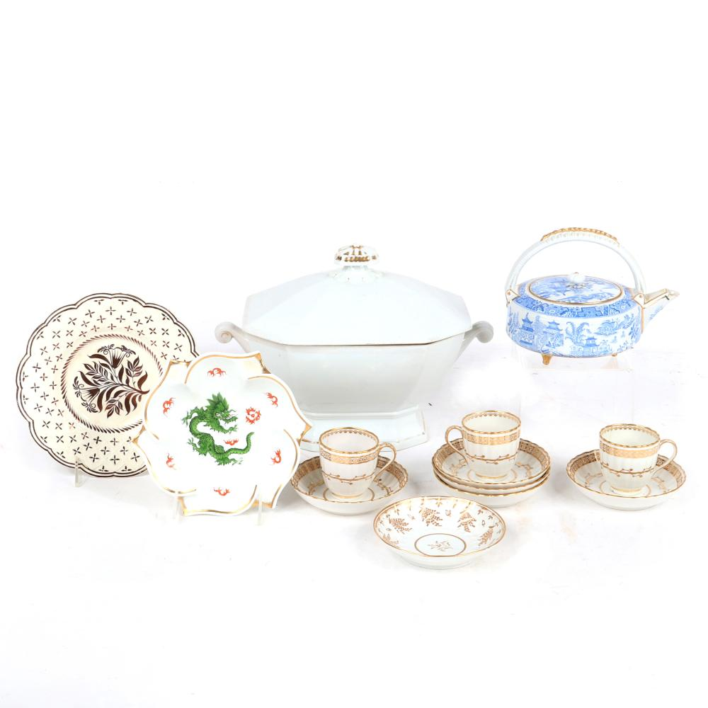 """Gilt 12pc porcelain: Meissen dish with dragon, ironstone soup tureen, Wedgwood lusterware plate, Crown Derby group with 3 cups and 6 saucers, blue willow transfer ware teapot. 7 1/2""""diam (Meissen plate)"""