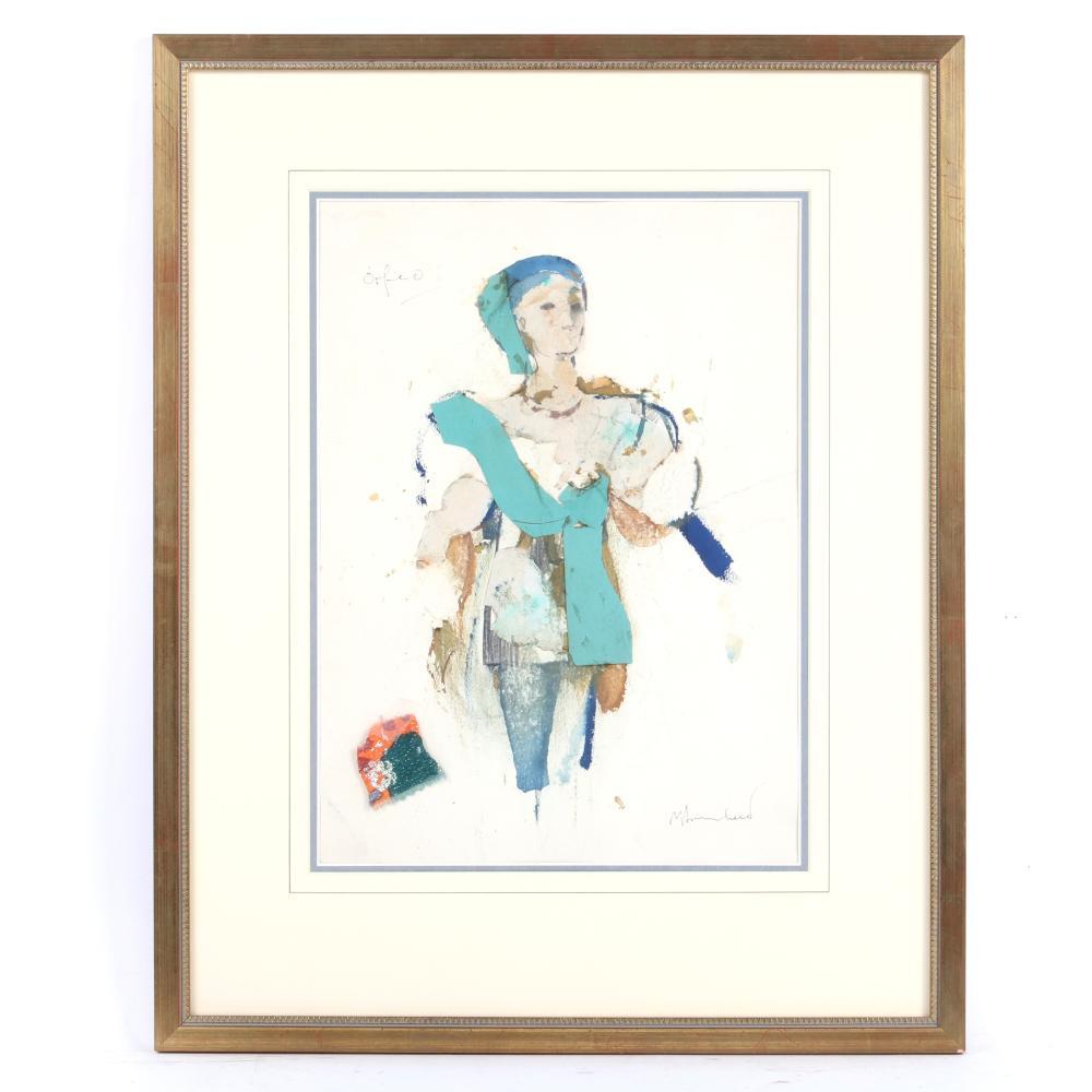 "Yolanda Pauline Tamara Sonnabend, (1935-2015), Monteverdi, Orfeo, costume design rendering, mixed media collage on paper, 14 1/4""H x 10 1/2"" W (image) 22 1/4""H x 17 3/4""W (frame)"