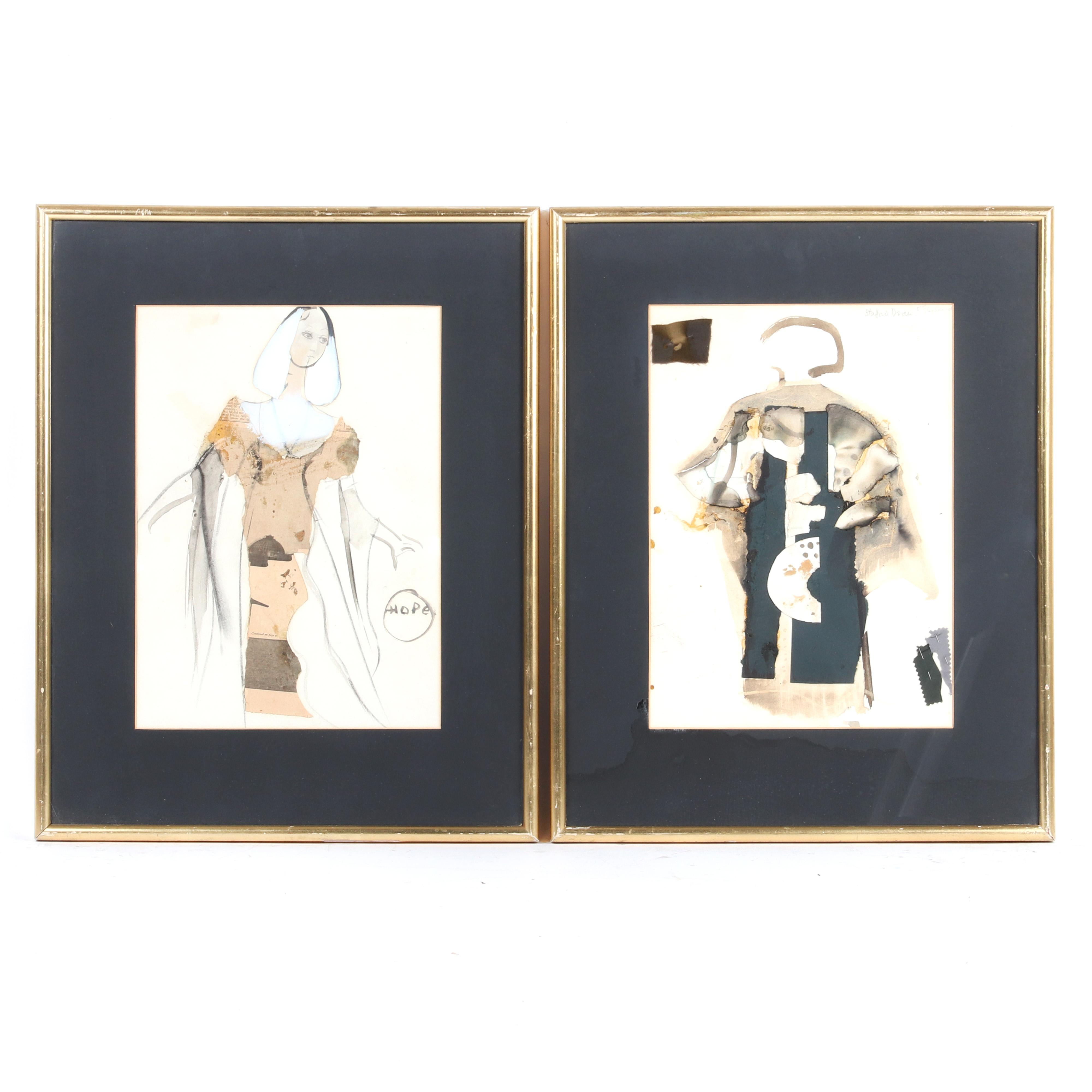 """Yolanda Pauline Tamara Sonnabend, (1935-2015), Monteverdi, The Madrigals for Stafford Dean and another costume design renderings, collage and mixed media on paper, 14 1/4""""H x 10 1/2""""W (image) 21 1/2""""H x 17"""" W (frame)"""