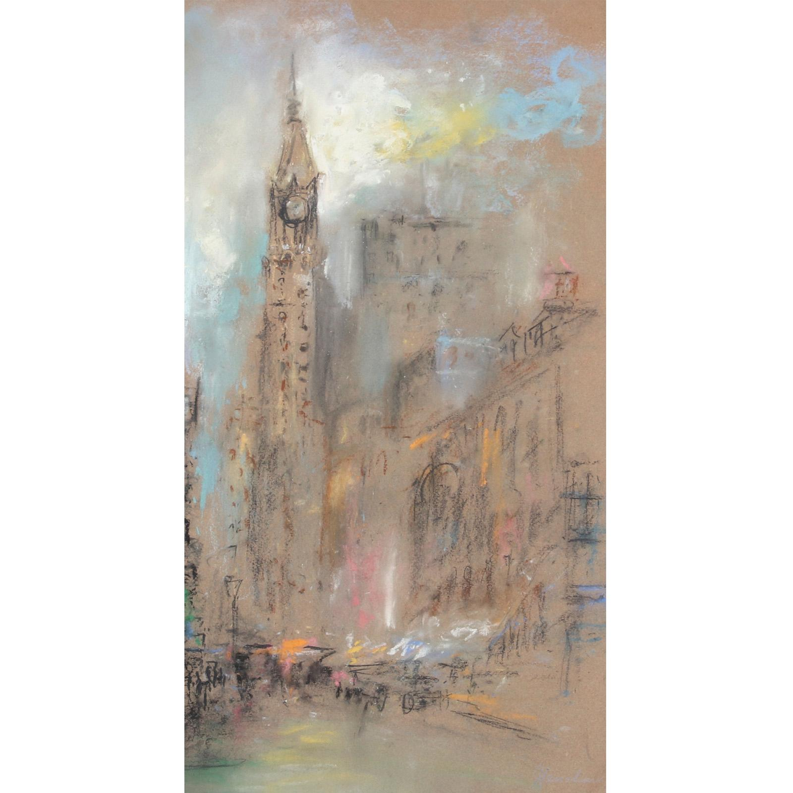 """Glenn Cooper Henshaw, (American, 1880-1946), Gothic Clock Tower Evening City Scene, possibly Philadelphia City Hall Building, pastel on paper, 21 1/2""""H x 11 1/2""""W (image) 27""""H x 17""""W (frame)"""