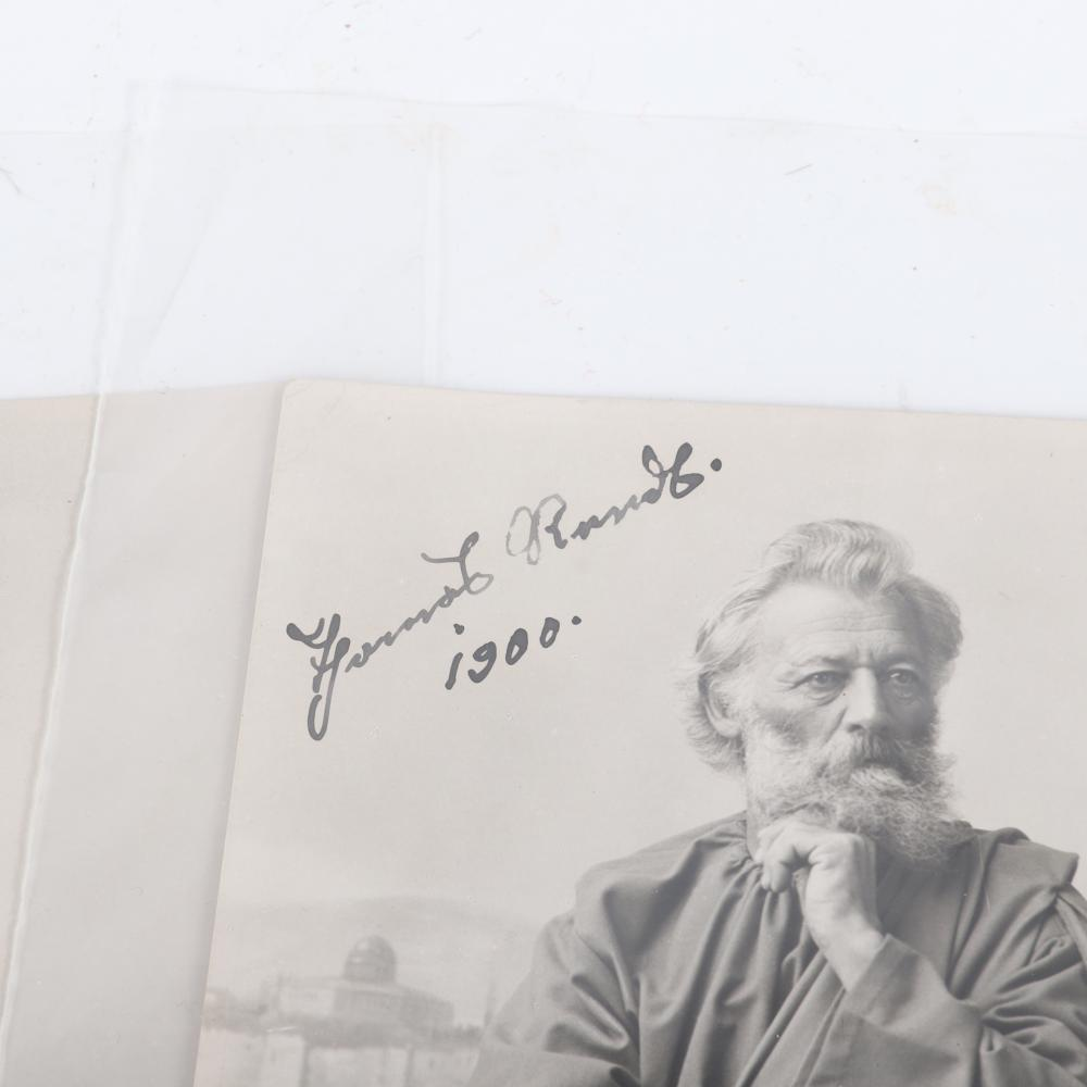 """Nine promotional photos from the Passionsspiele in Oberammergau in 1900 - autographed with pen and dated by the main actors: Anton Lang (Christus), Anna Flunger (Maria), 6""""H x 4""""W (each)"""
