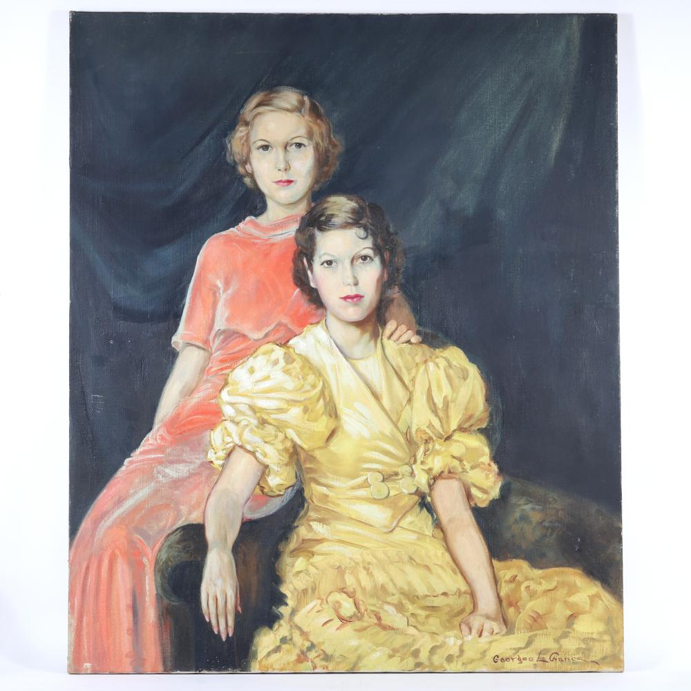 "Georges La Chance, (American, 1888-1964), portrait of two young women, oil on canvas, 48""H x 40""W"
