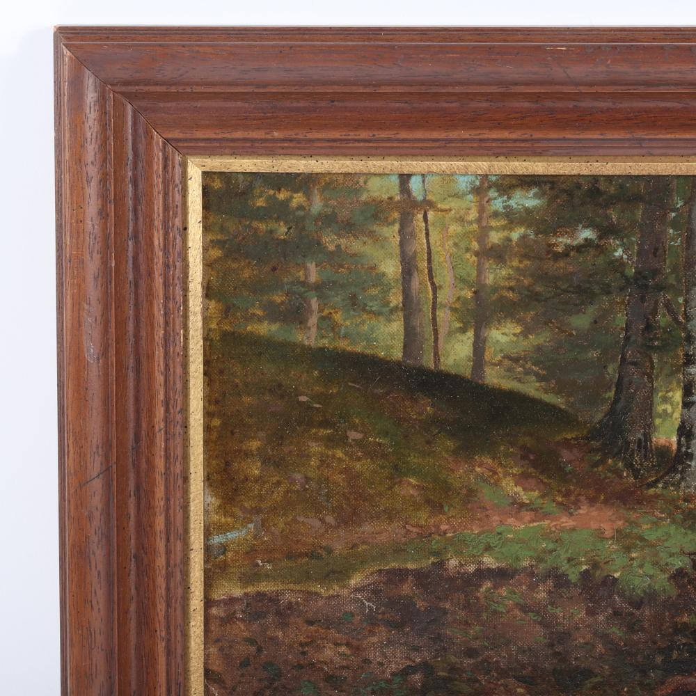 "Frank Girardin, (American, 1856-1945), dry creek bed in wooded landscape, oil on masonite board, 9""H x 18""W (image) 13 1/2""H x 23""W (frame)"