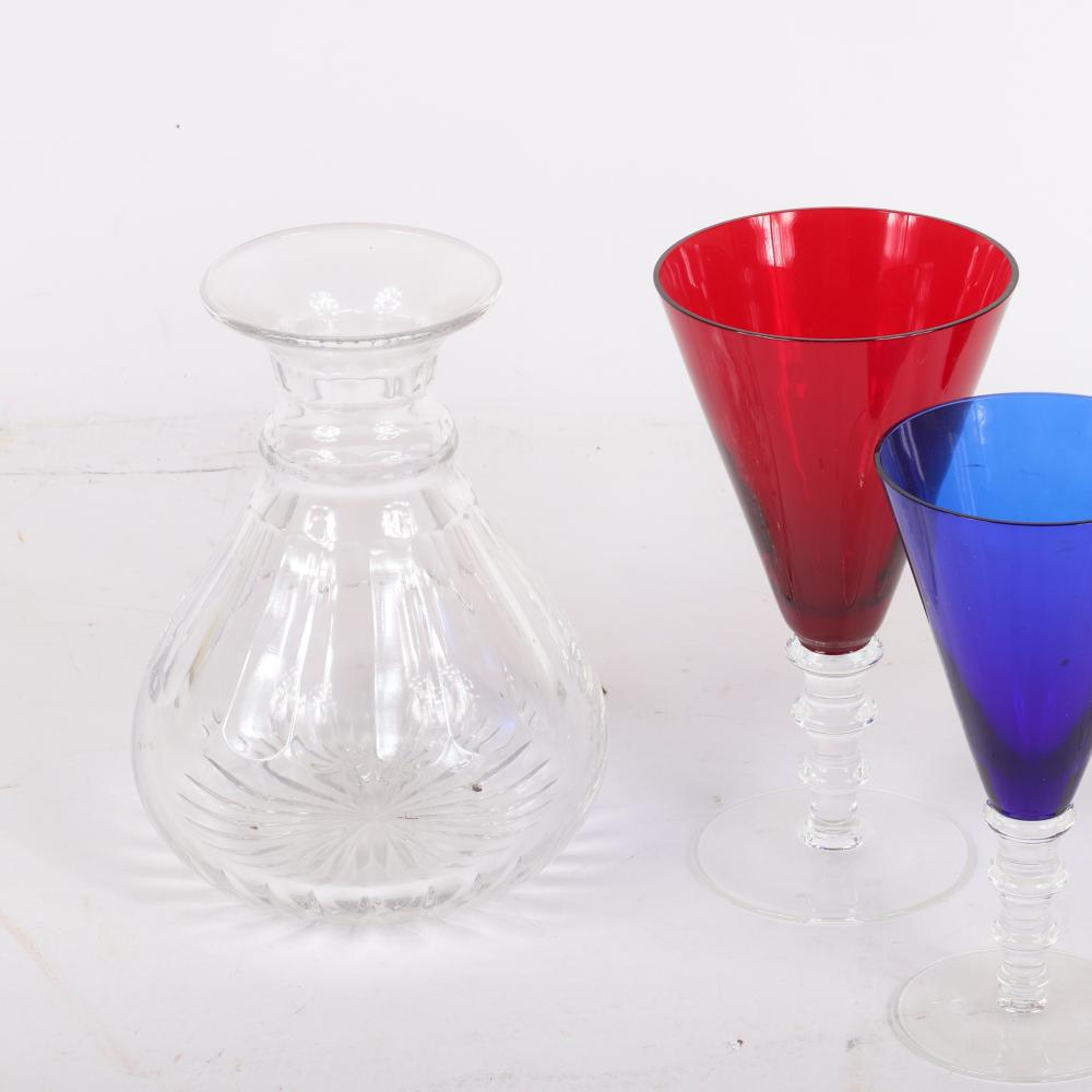 """William Yeoward crystal, 5pc. colored stems and vase. 7 1/2"""" H (colored stems)"""