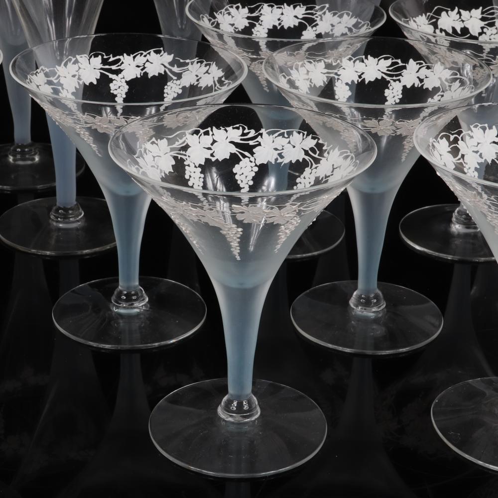 "Dorothy Thorpe blue stem crystal stemware with white enameled grapevine band, 13 pc. 7 1/2"" H (tallest)"