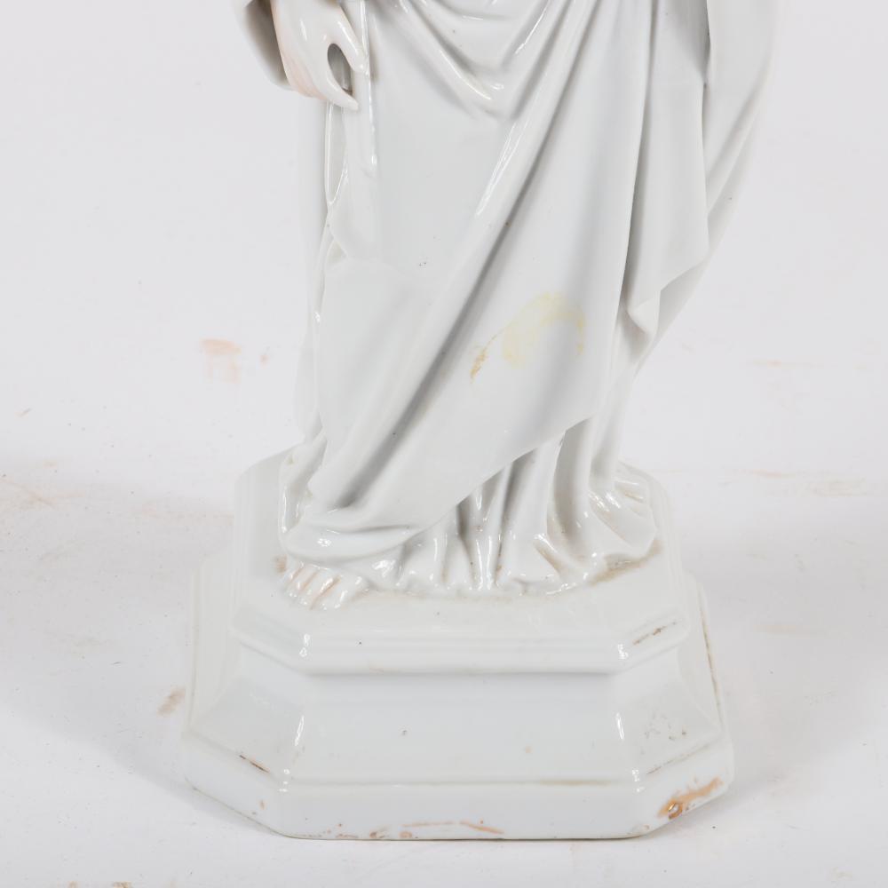 """Old Paris French porcelain religious figure of Saint Joseph holding lilies. 13""""H x 5""""W x 4""""D"""