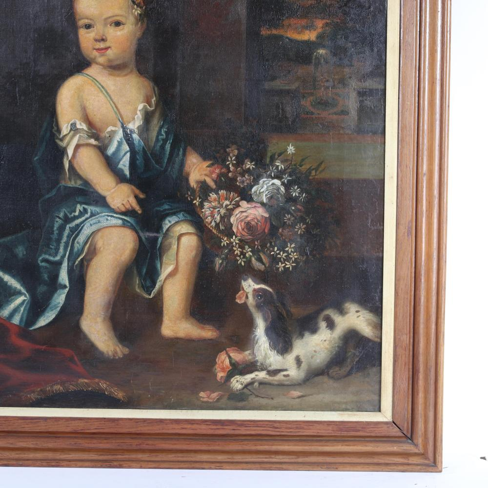 """British School 18th Century portrait of a child noble with King Charles Cavalier Spaniel and flowers. Manner of Sir Godfrey Kneller (UNITED KINGDOM / ENGLAND / GERMANY, 1646 - 1723) 45 1/2""""H x 35 1/4""""W (image) 53 1/2""""H x"""