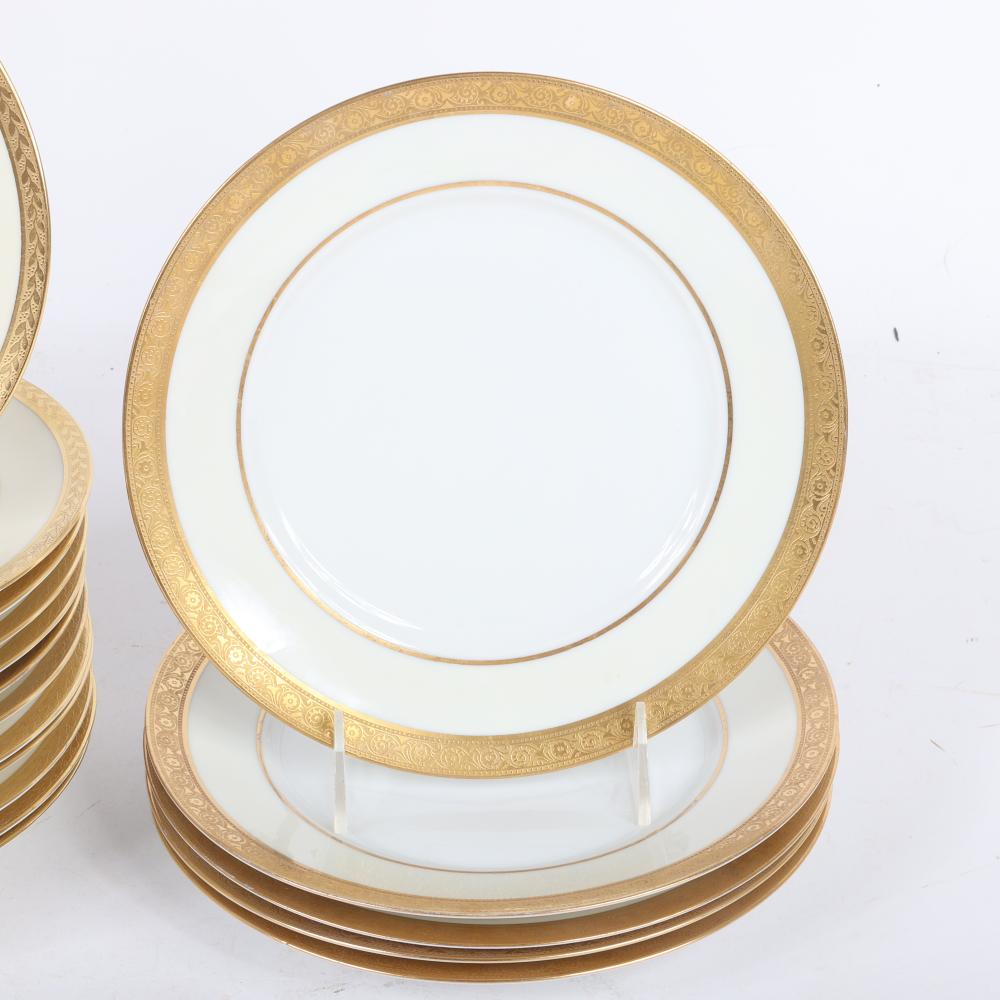 """White china with decorated gold band. various. 8 3/4"""" diam. (largest)"""