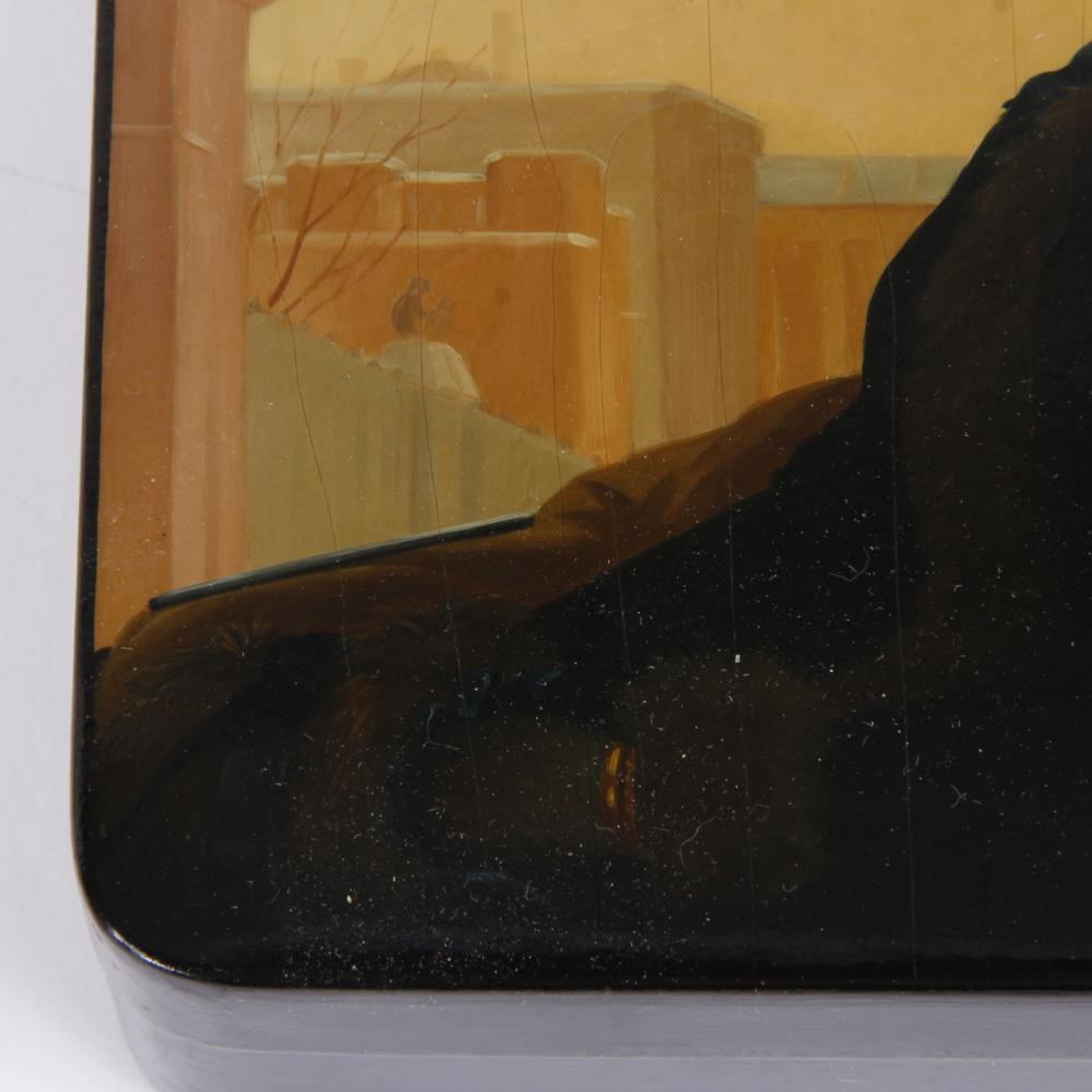 """Large Russian lacquer box, hand painted after Ivan Kramskoi's Portrait of an Unknown Woman, signed and dated 1900, Moscow. 2""""H x 7""""W x 6""""D"""