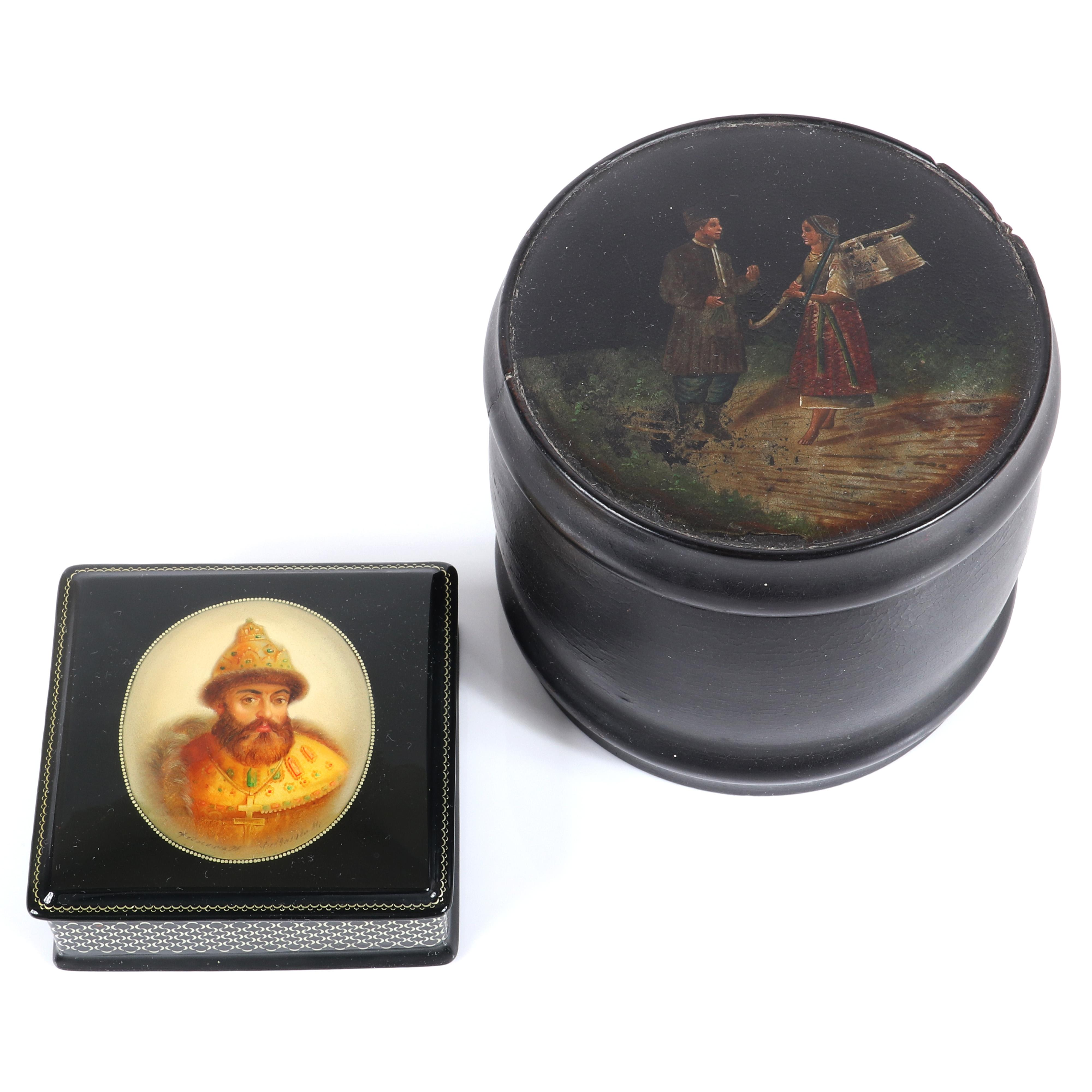 "Two Russian hand painted lacquer boxes: Fedoskino with mother of pearl portrait of Tsar Michael Romanov. Signed Cherkasova and dated 1895, and round box with two figures with stamp under lid. 1 1/4""H x 3 1/2""W x 3 1/2""D"