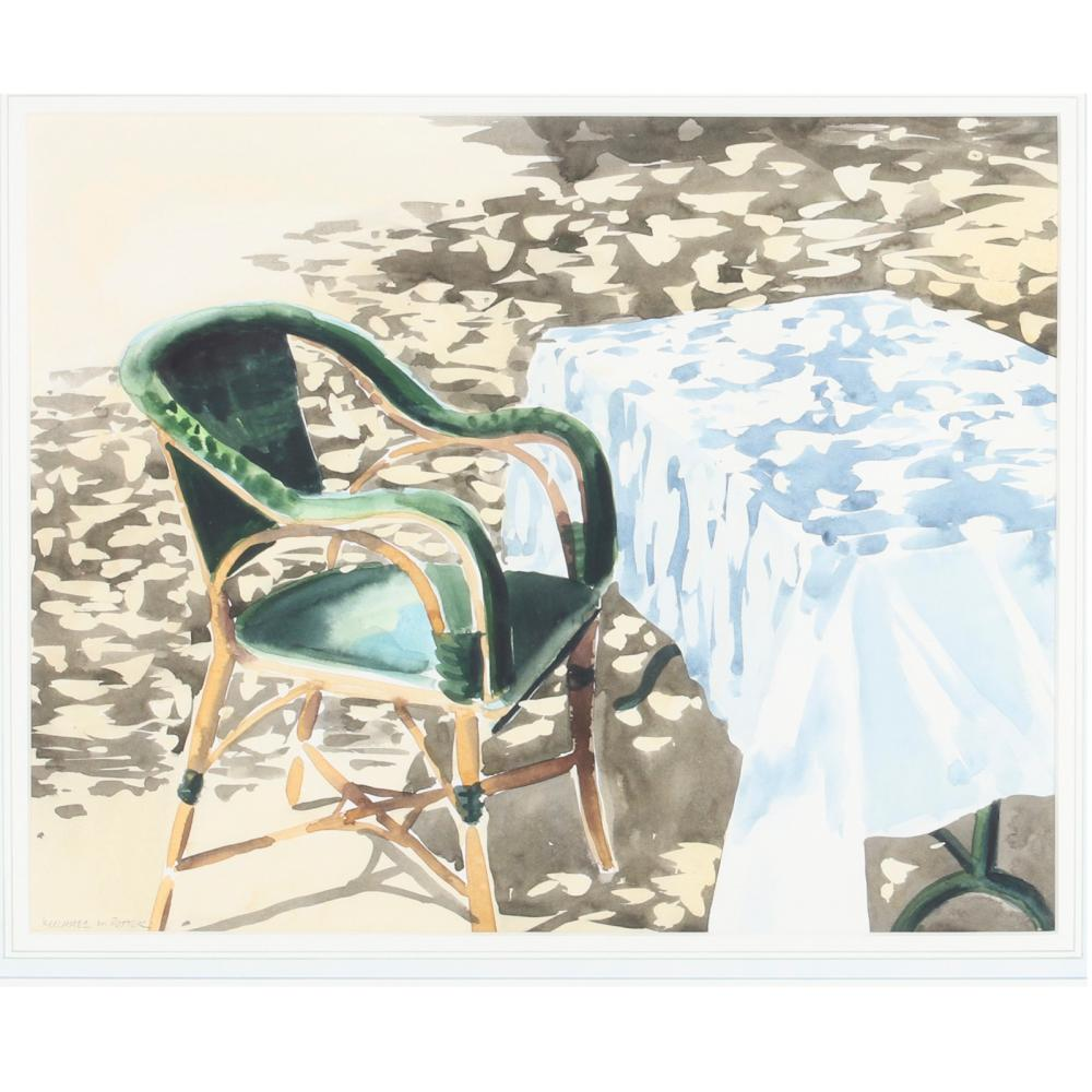 """Michael Potter, (British, b.1951), cafe table, watercolor on paper, 13""""H x 17""""W (image) 21""""H x 23 1/2""""W (frame)"""