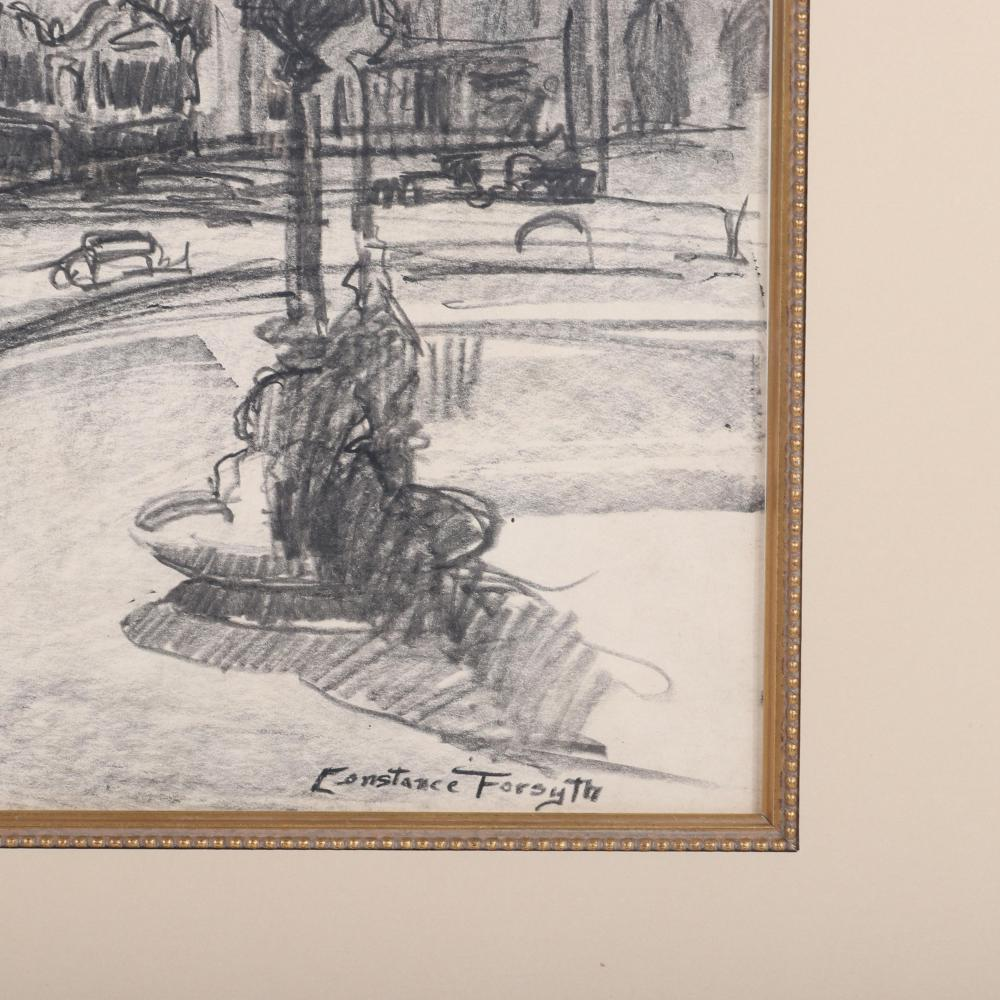 """Constance Forsyth, (American, 1903-1987), The Circle Theatre, Indianapolis, graphite on paper, 13 1/2""""H x 11""""W (image) 21""""H x 18 1/2""""W (frame)"""