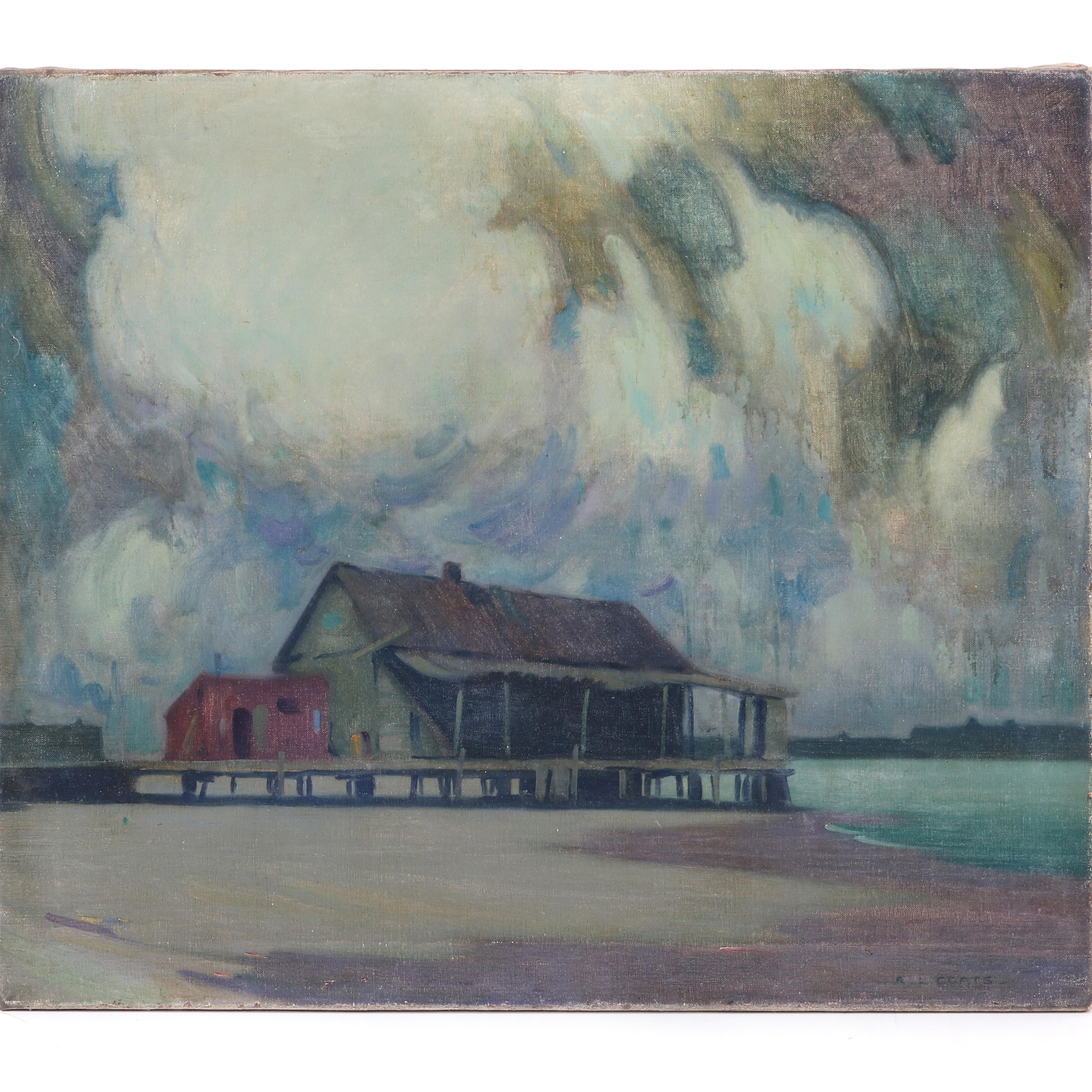 """Randolph LaSalle Coats, (American, 1891-1957), Untitled (Building on a Pier), ca.1920s, oil on canvas, 25""""H x 30""""W"""