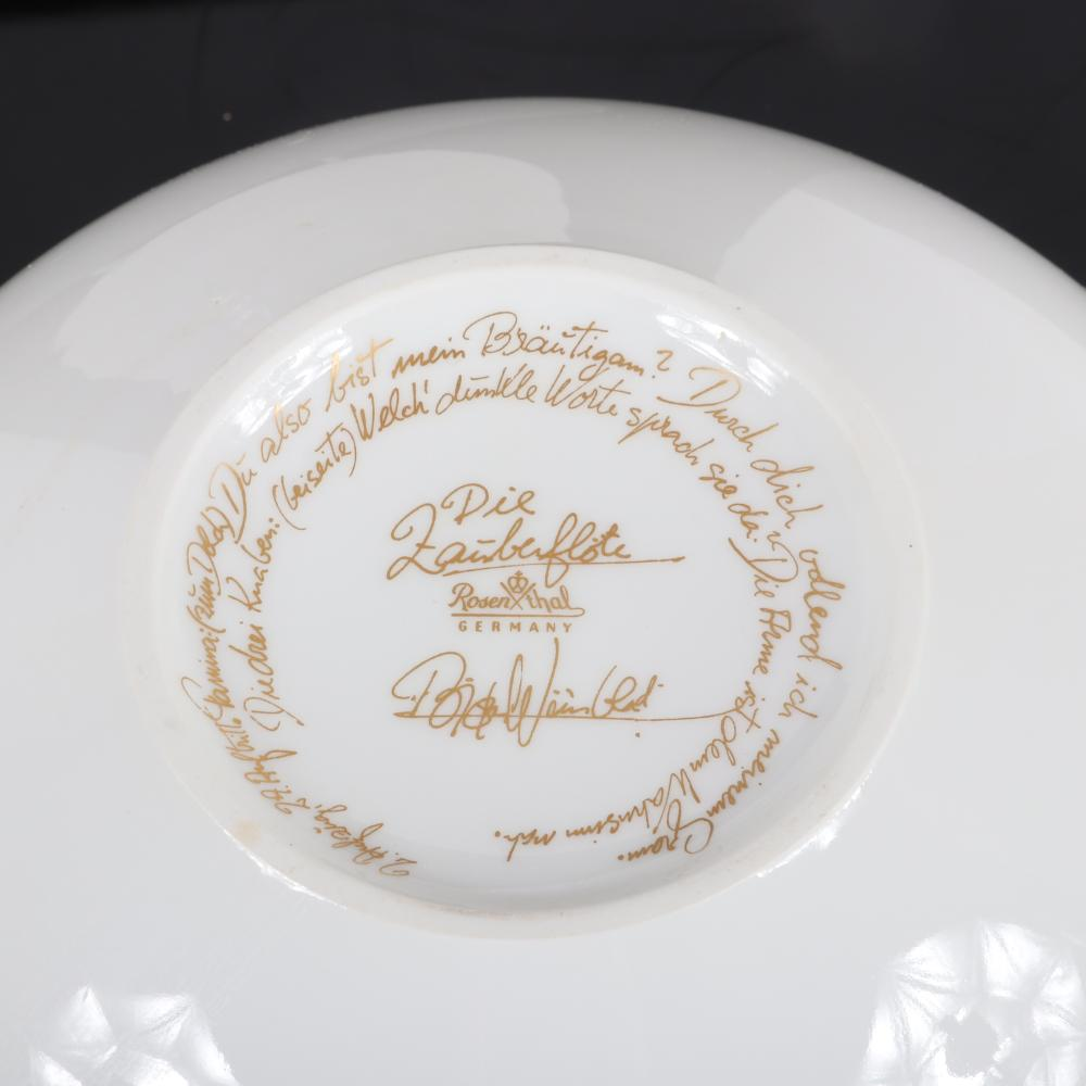 "Bjorn Wiinblad ""The Magic Flute"" collection Rosenthal porcelain covered vegetable dish and under plate. 11"" diam. (plate)"
