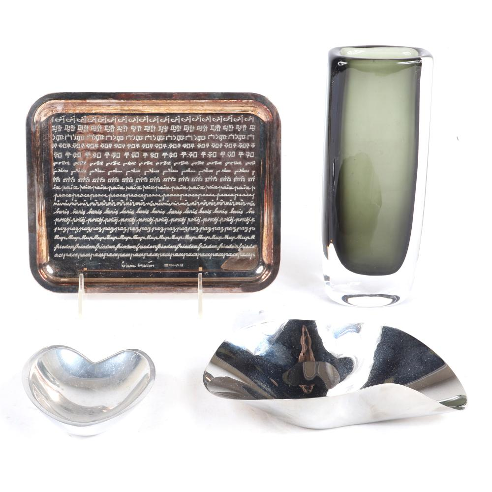 "Modern designer table articles, 4pc.; Orrefors Sweden Sommerso Art Glass Vase, The Dusk Series By Nils Landberg, Christofle silver plated 'Paix' tray, Georg Jensen freeform nut bowl, and Nambe heart tray. 8""H (vase)"