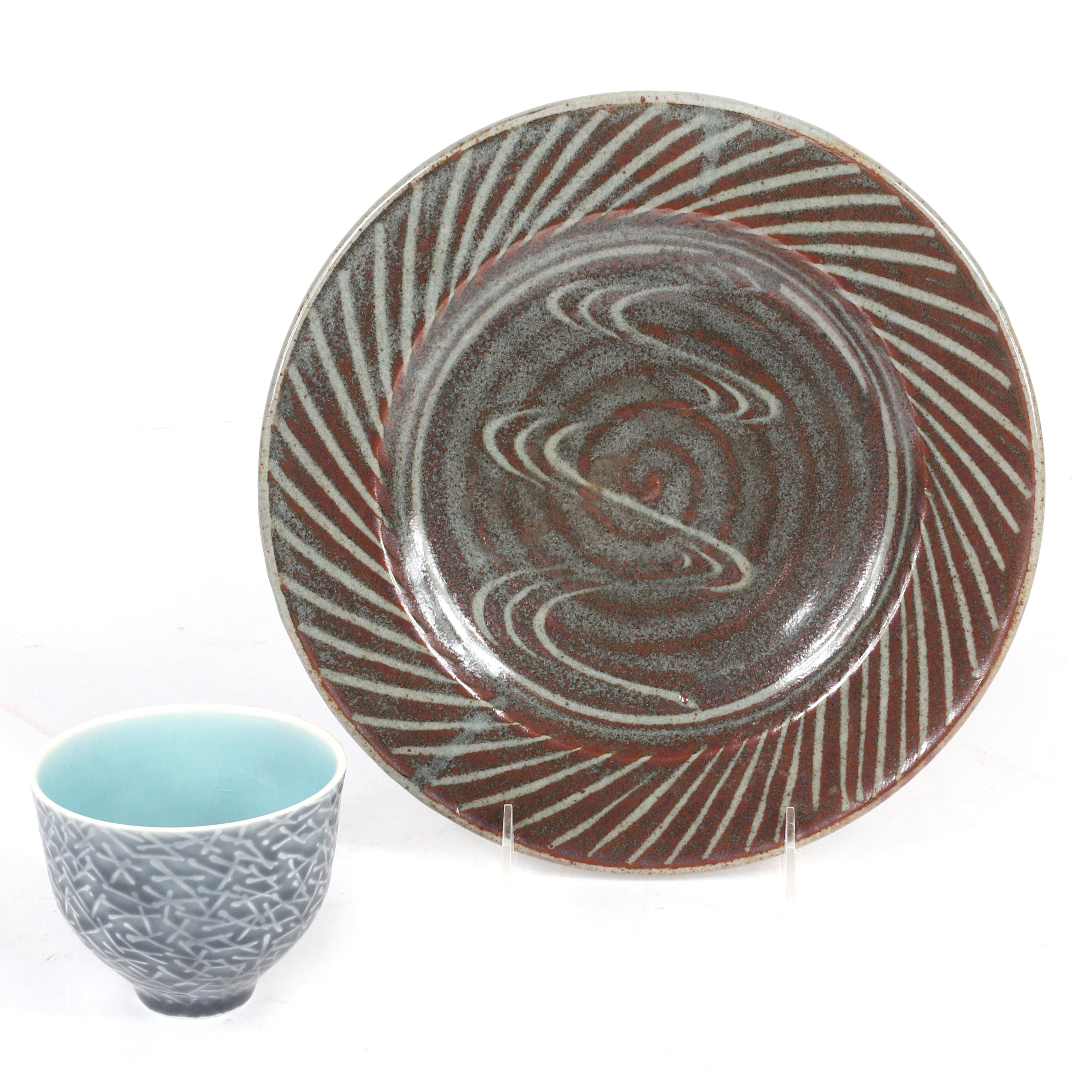 "20th Century Studio art pottery 2pc.; rice bowl and plate. 10"" diam (plate)"