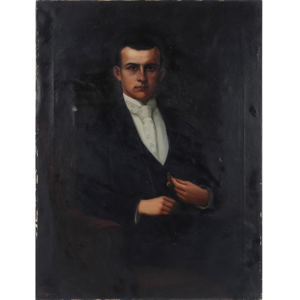 "Richard Buckner (R.B.) Gruelle, (American, 1851-1914), portrait of a young man ca. 1900, possibly Johnny Gruelle, (son of the artist), oil on canvas, 40""H x 30""W"