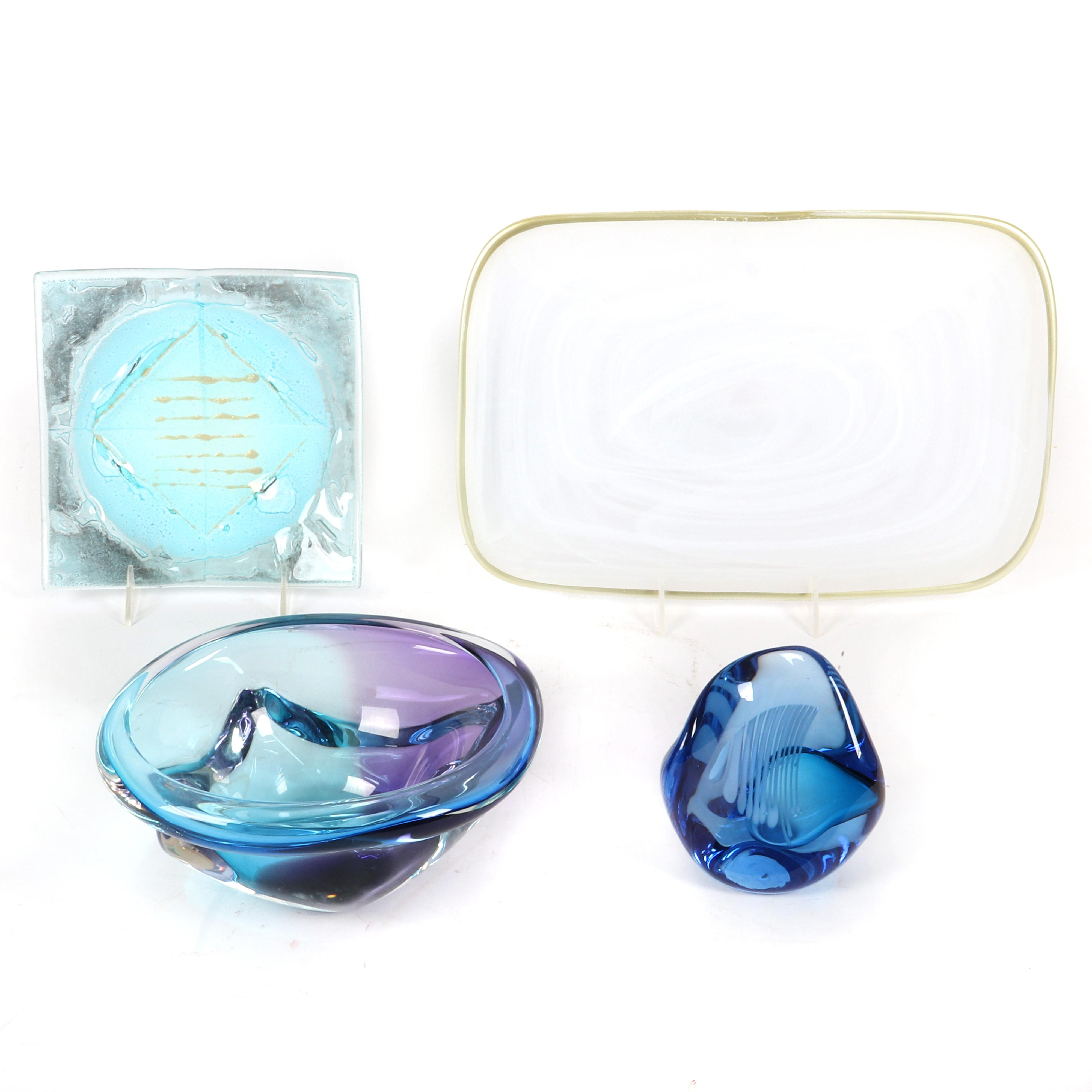 "Contemporary studio art glass collection. 4""H x 7 1/2"" diam. (bowl)"
