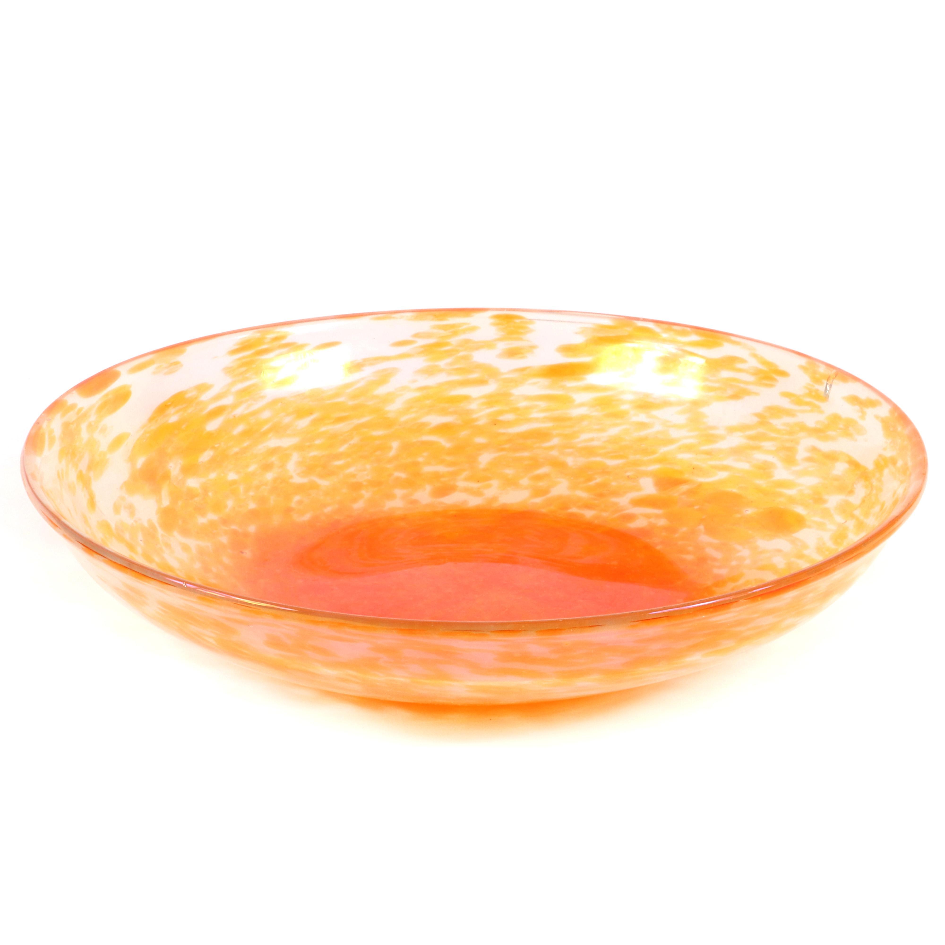 """Aureliano Toso Murano art glass Amace center bowl designed by Dino Martens, ca.1950. AS IS. 15 1/4"""" diam."""