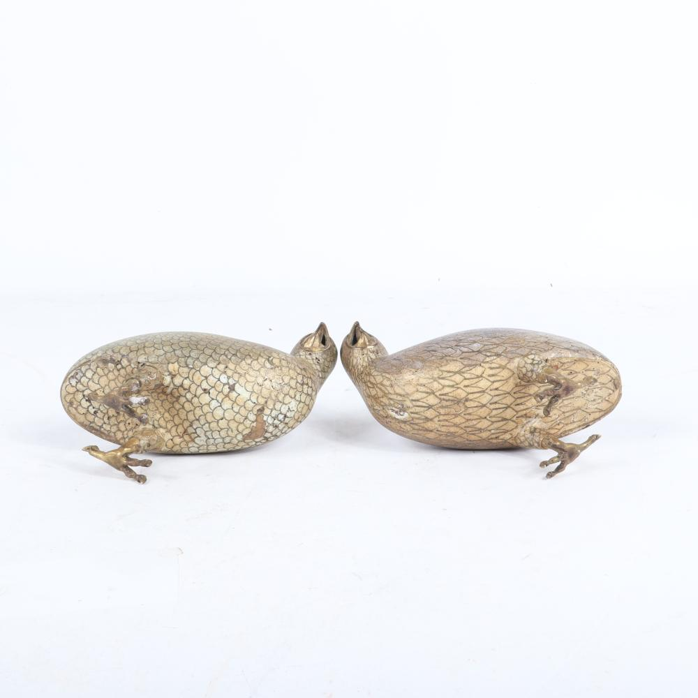 """Mirrored pair antique Chinese cloisonne enameled figural quail bird censers, 19th Century possibly Jiaqing. 6""""H x 6""""W x 3 1/4""""D"""