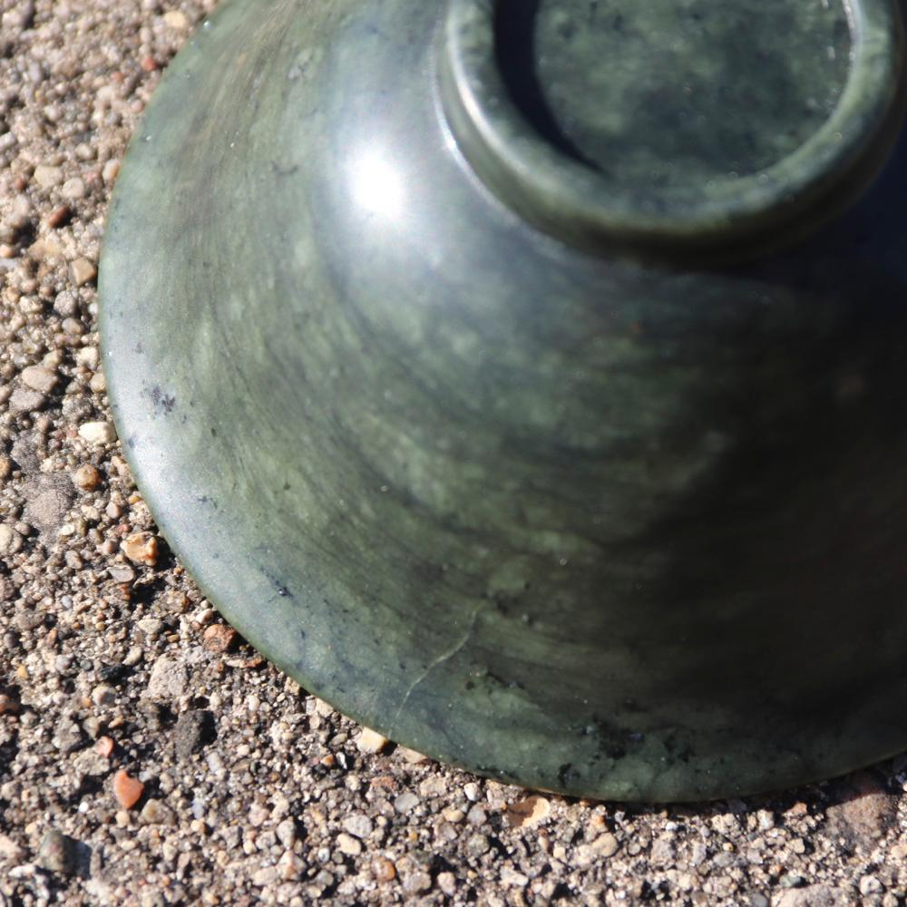 """Chinese carved spinach jade bowl on stand. 2 1/2""""H x 4"""" Diam."""