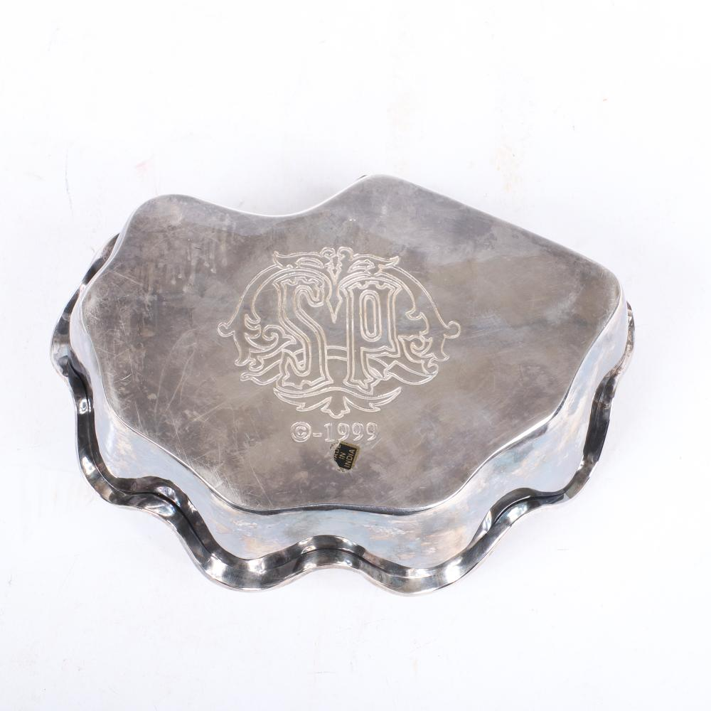 "Decorative arts 3pc., large silver shell form box marked SP 1999, silver overlay pulled art-glass pedestal bowl signed under base, celedon textured orb sculpture. 4 1/2""H x 8"" diam."