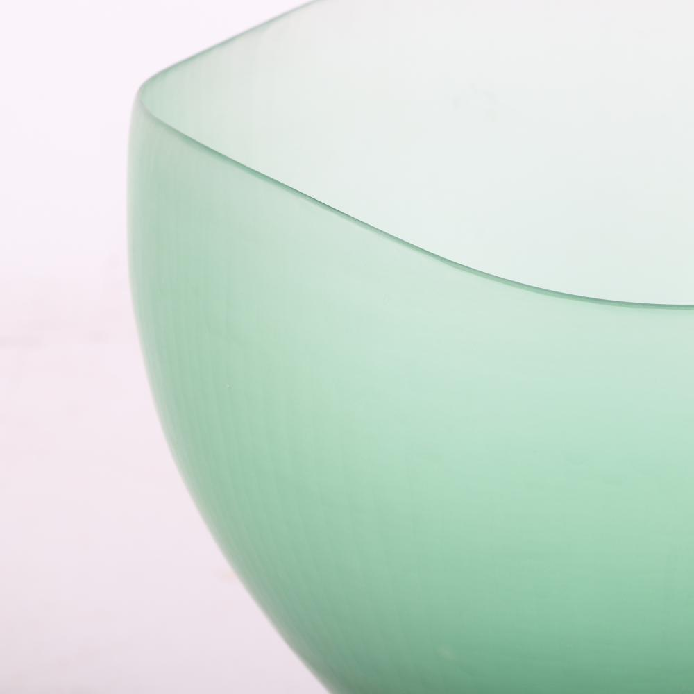 "Tobia Scarpa for Venini, green Battuto art glass vase, Murano, Italy. Tall and early example. 9""H"