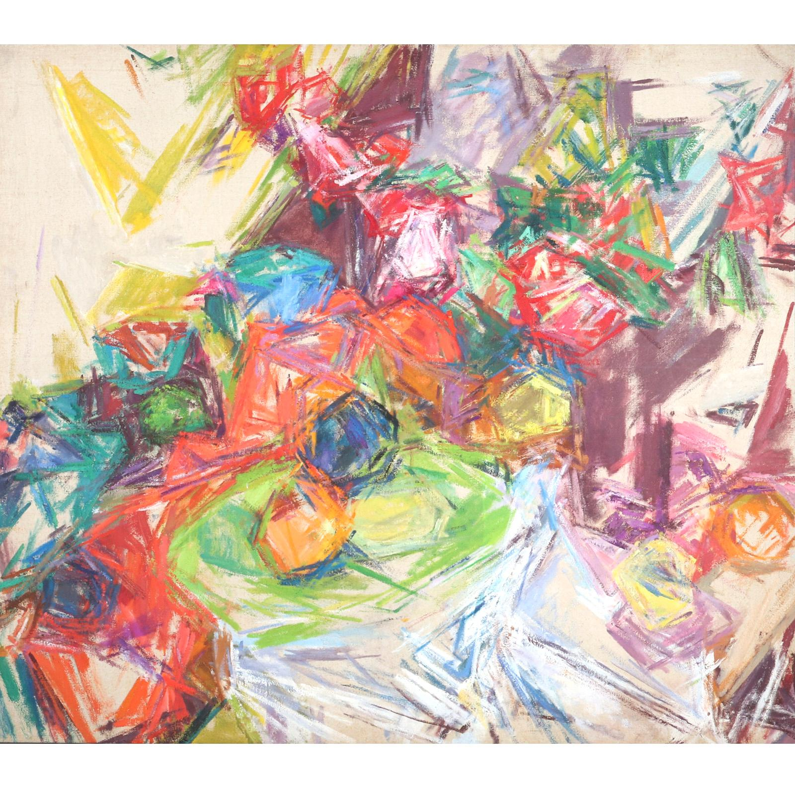 """Mercedes Carles Matter, (American, 1913-2001), untitled still life, 1962, oil on canvas, 43""""H x 49 1/2""""W (image) 45""""H x 51 1/4""""W (frame)"""