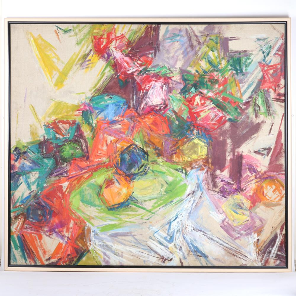 "Mercedes Carles Matter, (American, 1913-2001), untitled still life, 1962, oil on canvas, 43""H x 49 1/2""W (image) 45""H x 51 1/4""W (frame)"